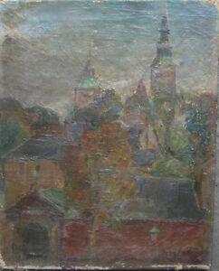 AUGUST-TORSLEFF-1884-OLGEMALDE-ALTSTADT-KIRCHTURME-GOTIK-EXPRESSIONIST-ANTIK