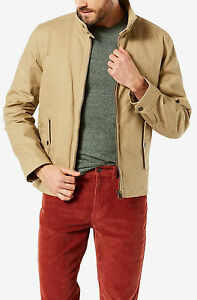 New-Dockers-brown-waxed-cotton-barracuda-men-jacket-size-XXL-100-polyester