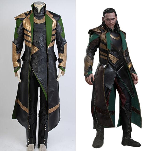Thor 2 Loki Costume Cosplay The Dark World Men Outfit Uniform Vest Full Set