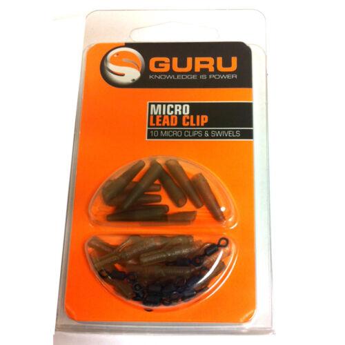 Guru Micro Plomb Clips /& émerillons 10pcs pour Grossier//Pêche à La Carpe