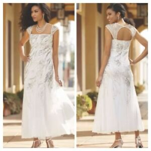 Details about White Hand Beaded Evening Pageant Gown Plus size 2X Midnight  Velvet Formal Dress