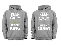 Couples Matching Hoodies King Queen Keep Calm Matching Couple Grey Unisex S-6x