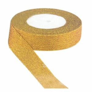 22-Metres-25mm-Double-Sided-Satin-Glitter-Ribbons-Bling-Bows-Reels-Wedding-V5Z7