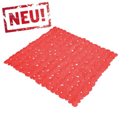 Rote Duscheinlage Sicherheits Duschmatte Duschwanneneinlage STEINOPTIK 53x53cm