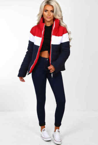 Womens Ladies Colour Block Contrast Quilted Padded Puffer Warm Thick Jacket Coat