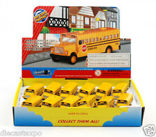 """Box of 12: Die-cast Mini School bus with Keychain (2½"""" long)"""