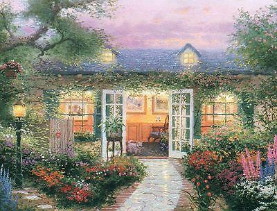 "Thomas Kinkade ""STUDIO IN THE GARDEN"" Country House Floral BOXLESS Puzzle *100%*"