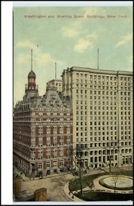 New-York-USA-vintage-postcard-1912-Washington-Bowling-Green-Buildings-Hochhaus
