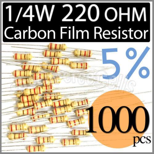 1000 pcs Carbon Film Resistors 1//4W 0.25W 220 Ohm 220ohm 5/%