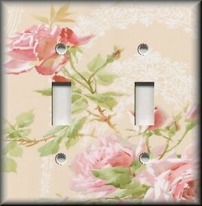 Light Switch Plate Cover Pink Roses With Lace Background