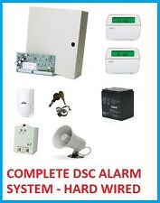 COMPLETE DSC ALARM SYSTEM PC1832 (2) PK5501 LC-100PI SIREN BATTERY  POWER
