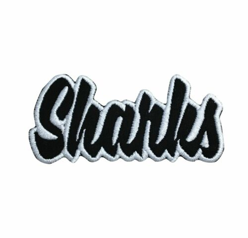 2x4 Sharks Color Choice Mascot//Team Name Iron on Applique//Embroidered Patch