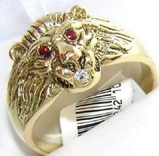 18K GOLD EP CZ RUBY THE KING LION MENS DRESS RING sz 10 or T 1/2