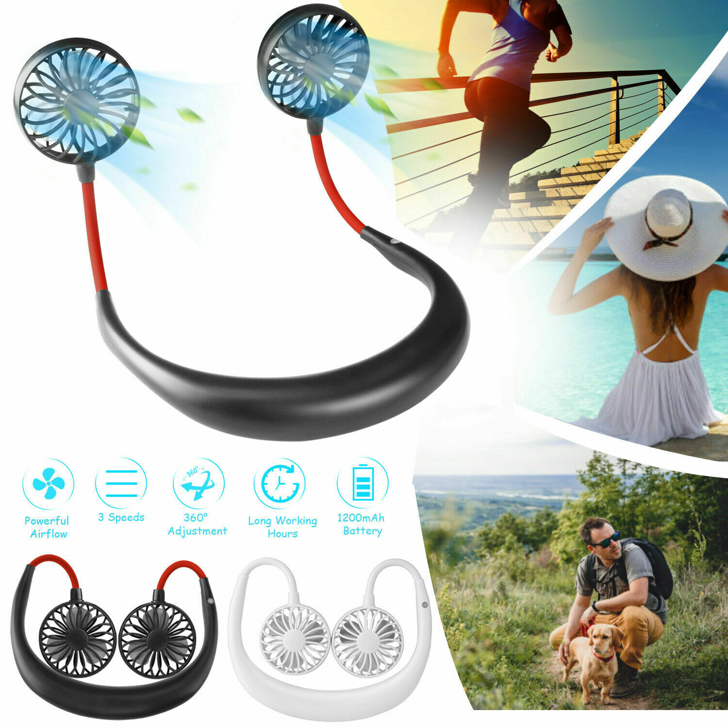 Black Mini Personal Sports Fan,Portable USB Rechargeable Neckband Lazy Neck Hanging Style Dual Cooling Fan 3 Wind Speed Handled Fan for Camping//Travel//Outdoor