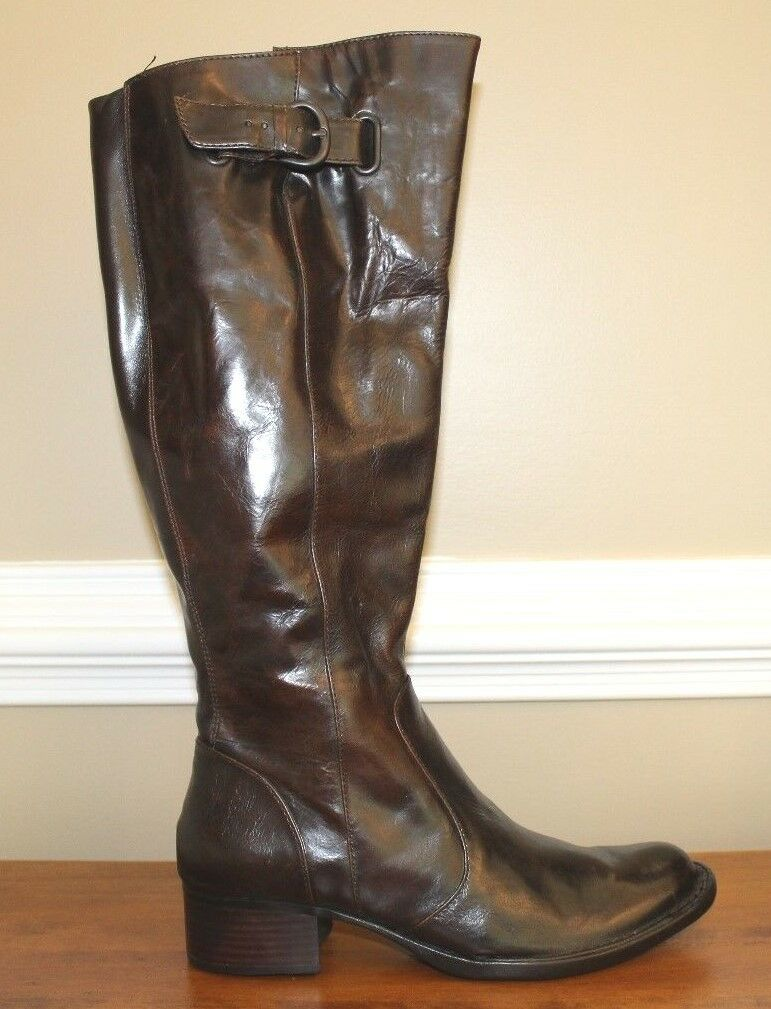 Born Damenschuhe Stiefel Sz 6 M Braun Leder Wide Calf Crown Roxie Tall Retail 240