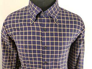 Scott-Barber-Mens-Long-Sleeve-Button-Down-Shirt-Size-XL-Plaid-Blue