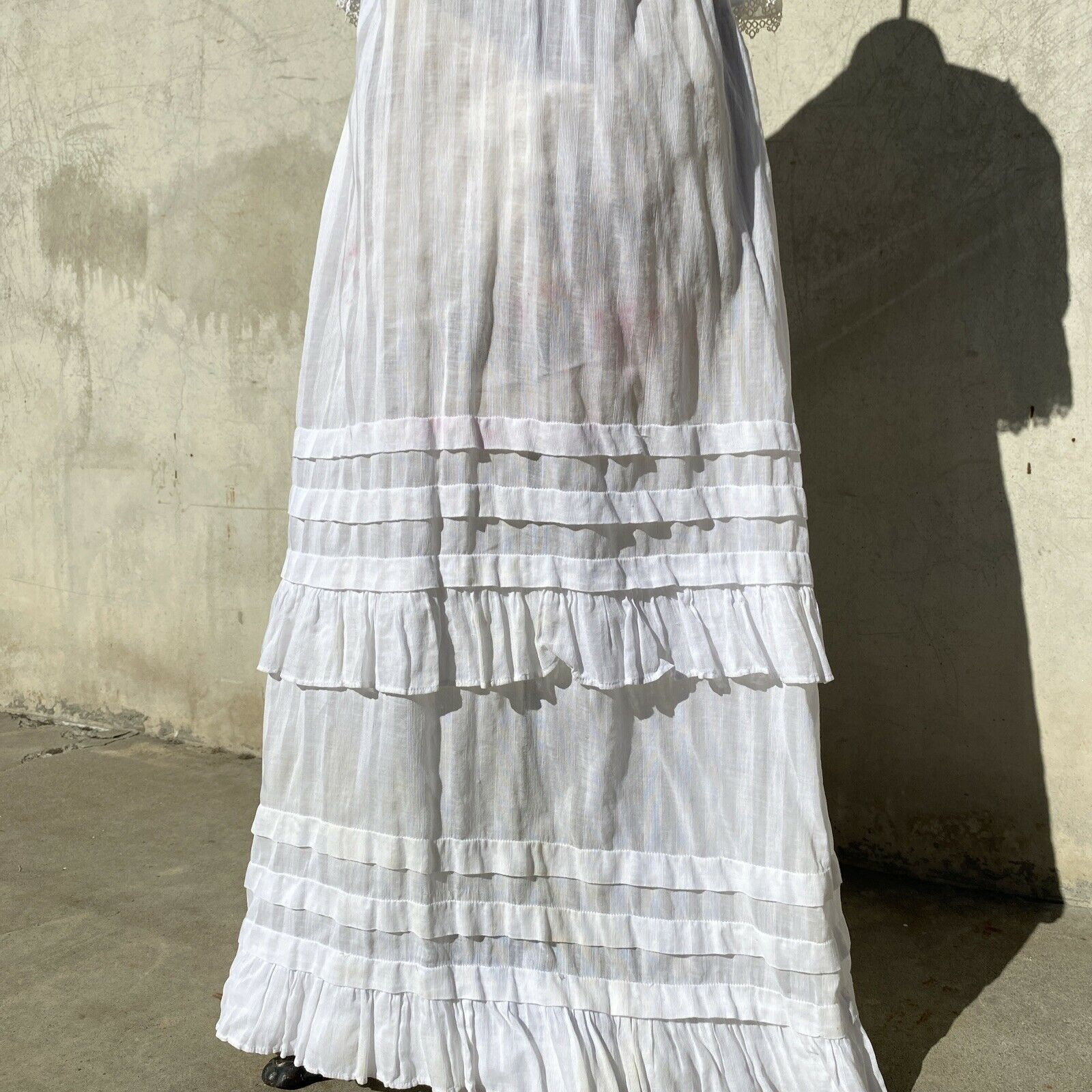 Antique Edwardian White Cotton Tea Dress Maxi Lac… - image 6