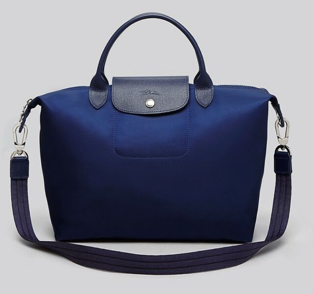 f0567ad71dde69 NEW Longchamp Le Pliage Neo Medium Travel Nylon Crossbody Bag NAVY Blue  Satchel