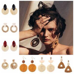Beaute-bambou-rotin-en-bois-tisse-bijoux-boucles-d-oreilles-geometrique-pendre