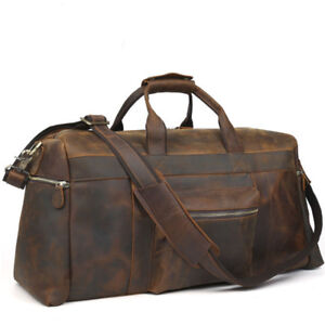 Real-Leather-Large-Travel-Hand-Luggage-Duffel-Gym-Bag-Holdall-Carry-On-Suitacase