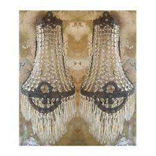2 Antique Patina Replica Brass French Empire Crystal Chains Wall Sconces