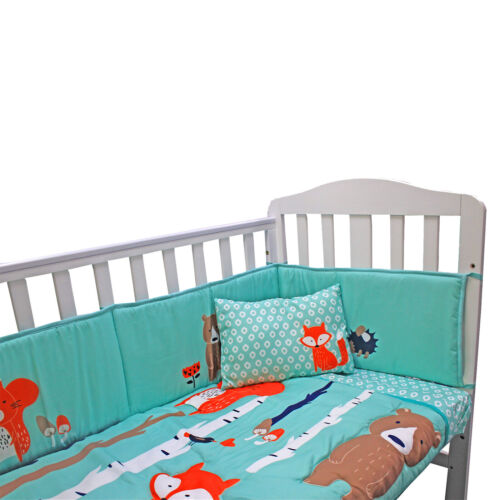 Complete Baby Bed Bedding Set Cot Forest Duvet Bumper Fitted Sheet Pillow