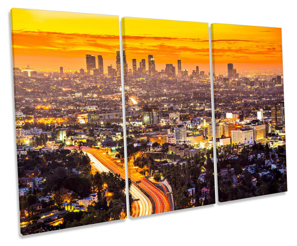Los Angeles Sunset City TREBLE CANVAS WALL ART Box Framed Print