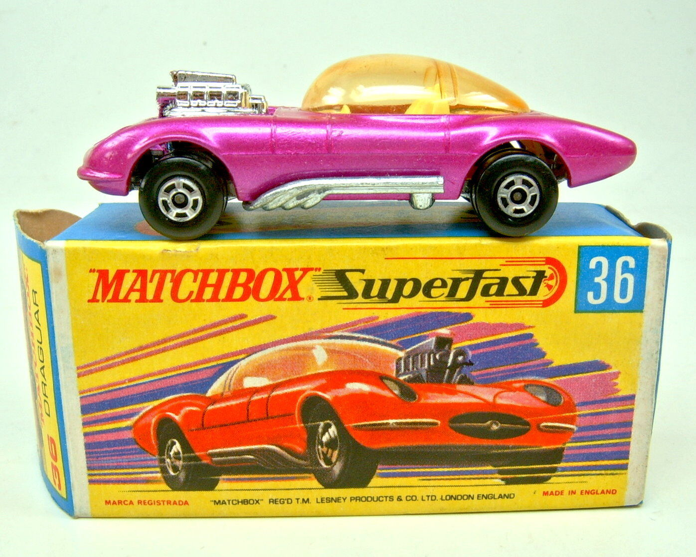 Matchbox SF Nr.36B Draguar purplemetallic orange Scheibe in  H  Box