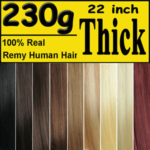 Extra-THICK-Deluxe-Clip-in-Remy-Human-Hair-Extensions-Black-Brown-Blonde-Women