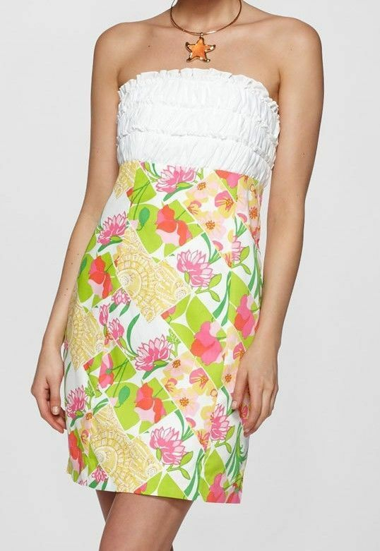 198 Lilly Pulitzer Franco Multi Lilly Fields Forever Strapless Dress 96291 210005