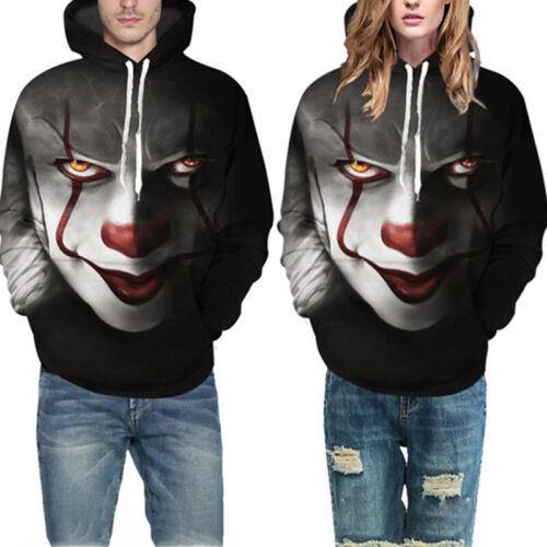 Movie Stephen King IT The Clown Pennywise Hoodies Halloween Cosplay Sweatshi  HV