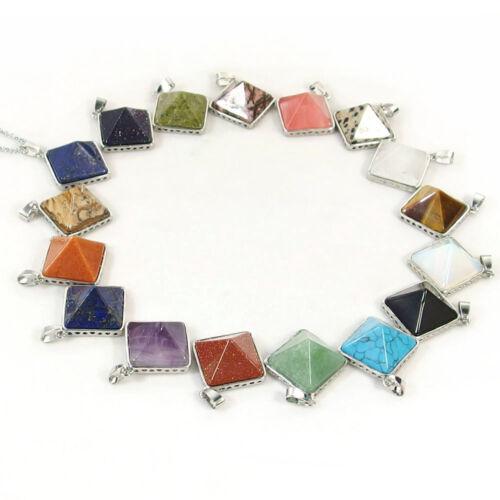 Spiritual Gemstones Reiki Chakra Crystal Healing Energy Pyramid Pendant Necklace