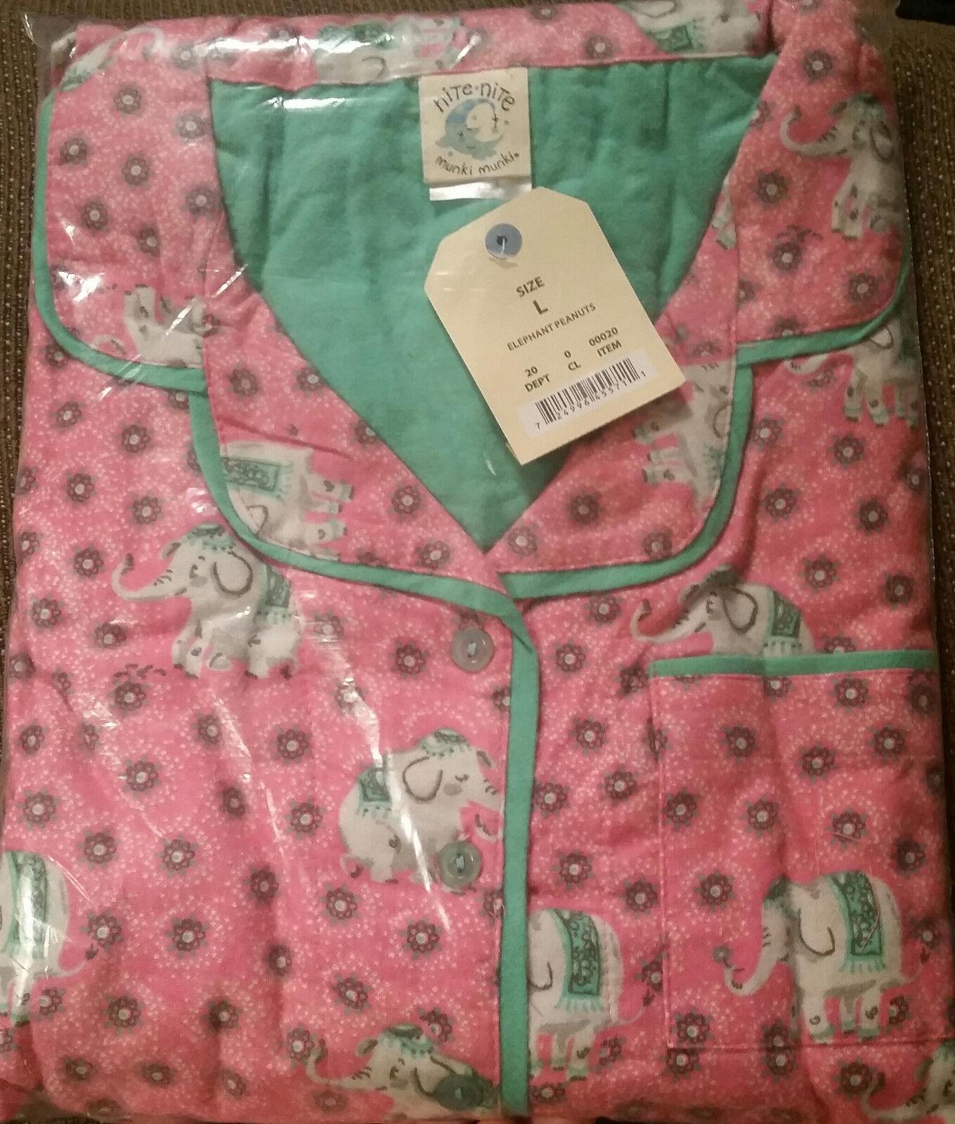 Munki Munki Nite Nite PINK ELEPHANT 2PC Pajamas  Womens  XL  Flannel  PJ'S NEW