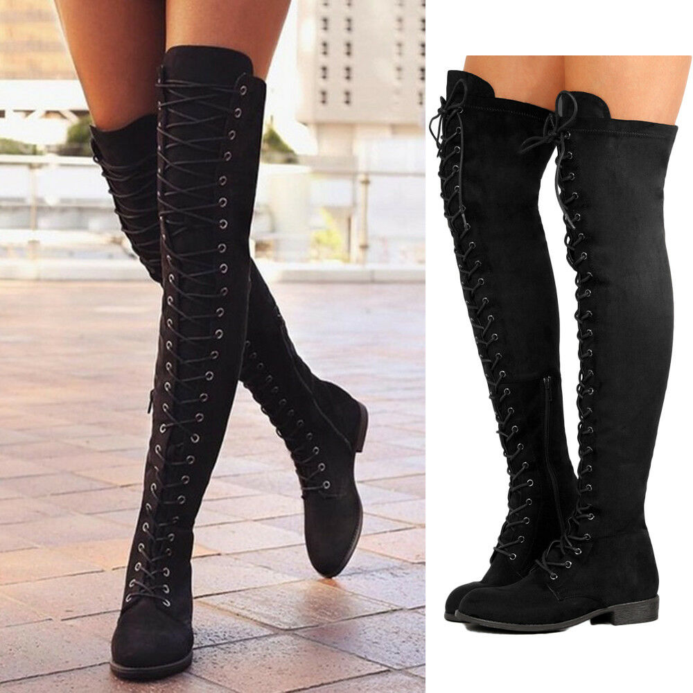 Mujer Ladies Over The Low Knee Thigh High botas Low The Heel Lace up Flat  Zapatos  Size 7c4432