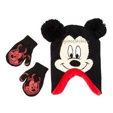 0c357fc9a2114 Disney Mickey Mouse Boy Black Earflap Ears Pom Beanie Winter Hat Cap  Mittens Set