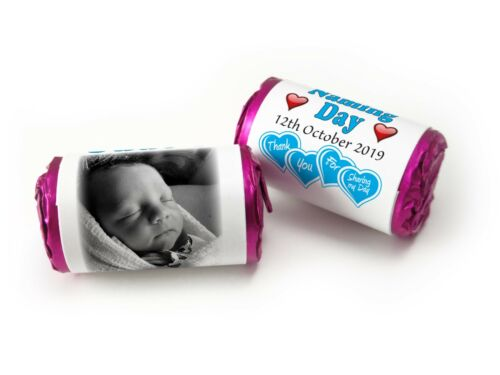 Boy V0 Personalised Mini Love Heart Sweets for Naming Day with Image