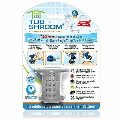 (Gray) TubShroom Hair Catcher, Strainer, Drain Protector for Tub, 100% Authentic