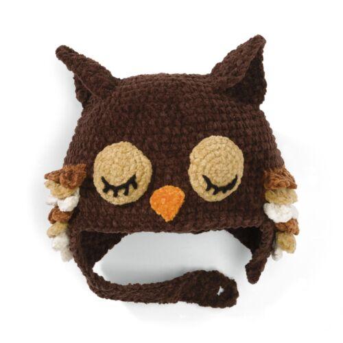 New San Diego Hat Brown SLEEPY OWL Beanie  6-12  M 12-24 mos 3-6 yrs 1-2 yrs