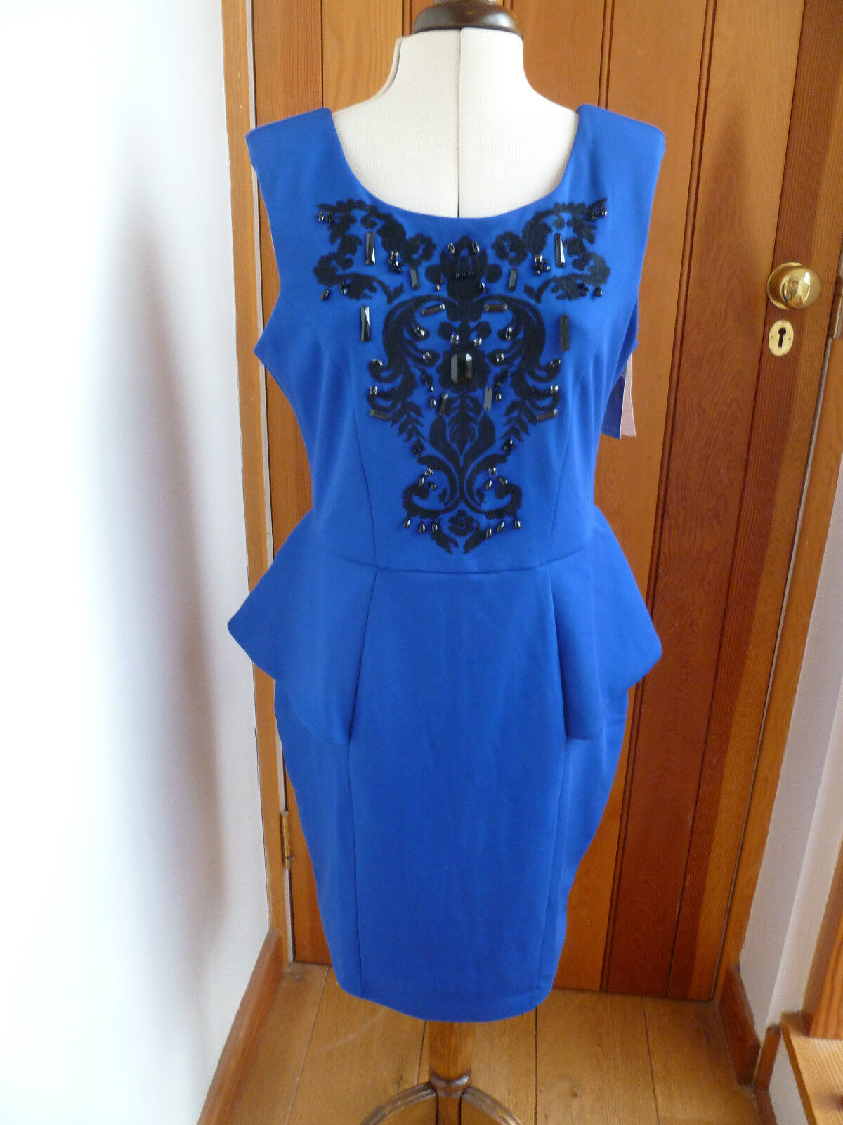 LIPSY BRIGHT ROYAL blueE BEADED AND EMBROIDERY DETAIL PEPLUM DRESS 16 BNWT