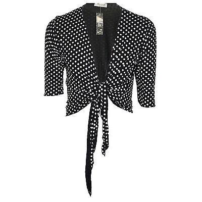 Womens Ladies Plus Size Polka Dot Tie Up Shrugs Bolero Cardigan Top 12 16 20 26