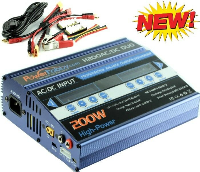 Powerhobby H200 Duo Dual 200W AC DC LiPO LiHV NiMH 10-Amp charger bluee