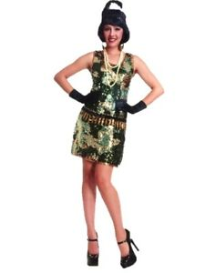 Image is loading G-I-Gal-Sequin-Camo-Flapper-Dress-Halloween-Costume-  sc 1 st  eBay & G.I Gal Sequin Camo Flapper Dress Halloween Costume Adult Womens ...