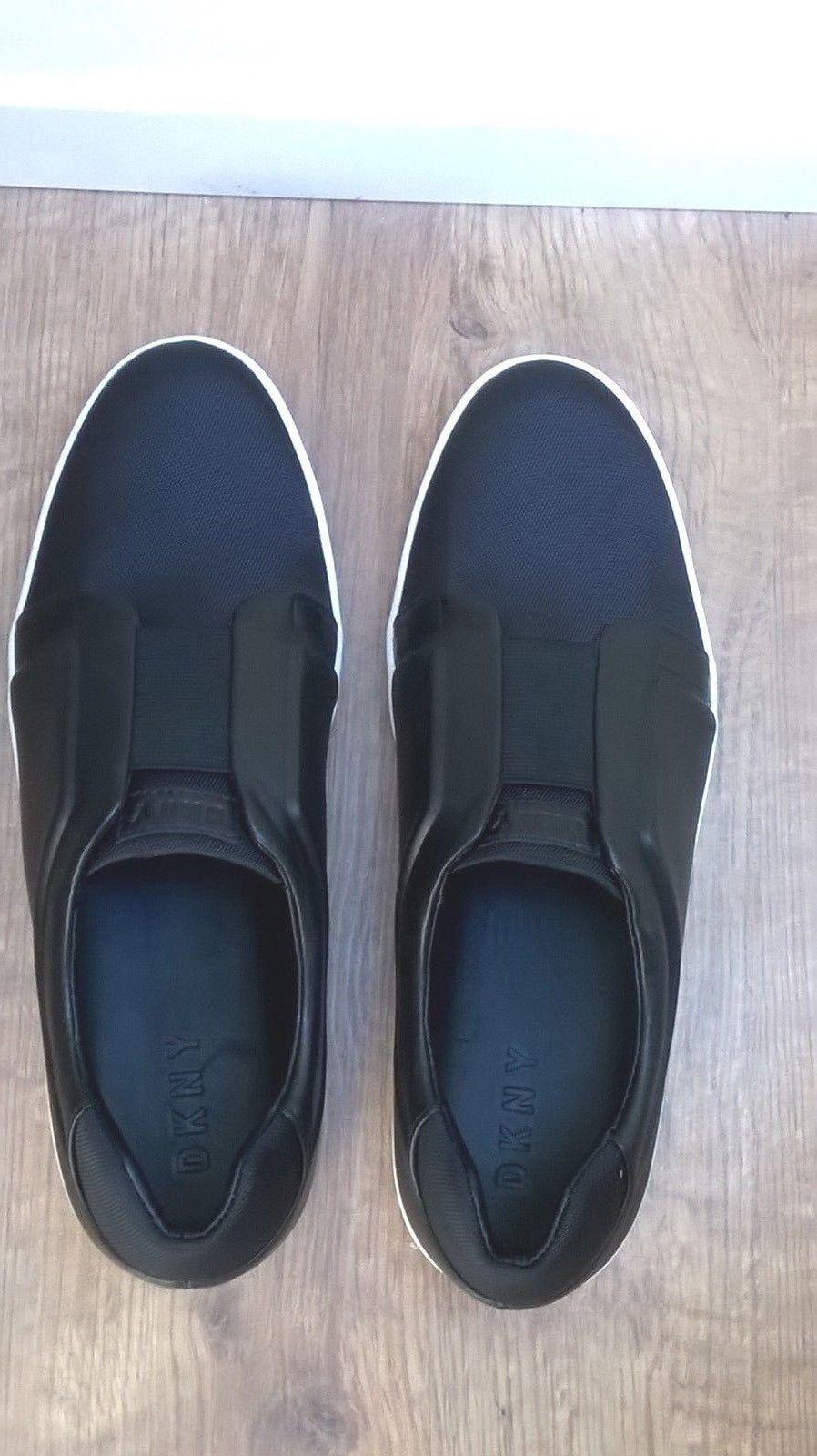 DKNY Black Leather Bobbi Slip On Trainer - Size UK 7 (US 9.5) New w o Box