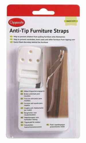 Clippasafe ANTI-TIP FURNITURE STRAPS Baby Child Safety BN