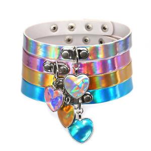 ZuverläSsig Holographic Choker Necklace Laser Heart Love Rainbow Gothic Collar Women Girl Uk Warm Und Winddicht Uhren & Schmuck