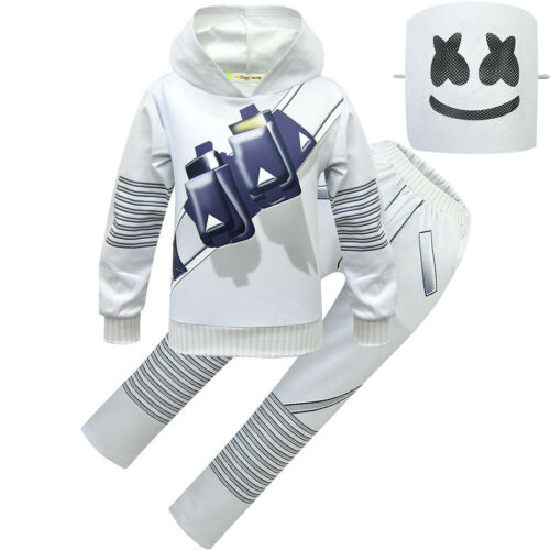 Kids Boys DJ MarshMello LED Mask Hoodies+Pants Cosplay Costume Party Jumpsuits