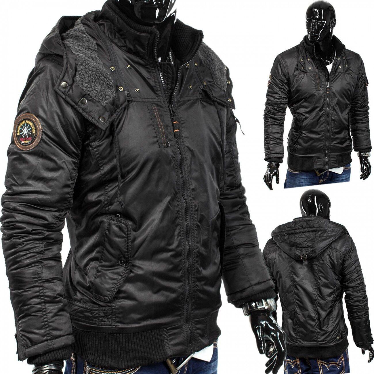 men chaqueta de invierno Hoja Core motorista Parker acolchado capucha diseño