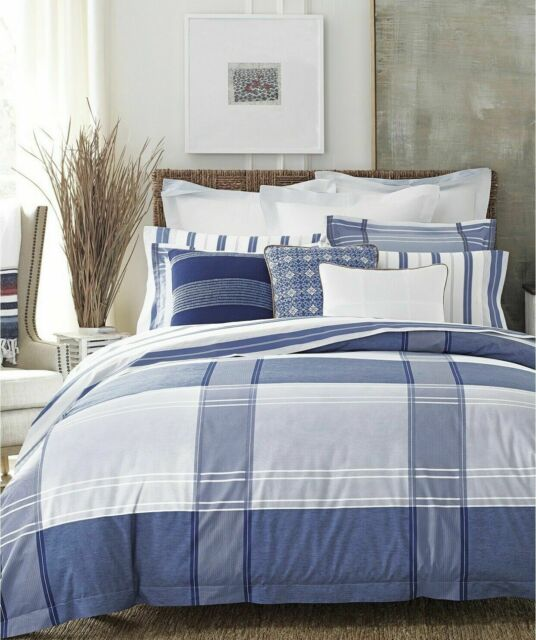 . TOMMY HILFIGER Lamberts Cove FULL QUEEN 3pc Comforter Set BLUE WHITE Plaid   250