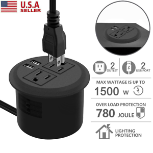 "Hidden Power Outlet with 2 Plugs & 2 USB Desktop Socket (Ps open hole 3 1/8"")"