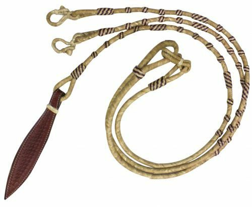 Showman 8ft Braided Natural Rawhide Romal Reins with  Leather Popper  exciting promotions